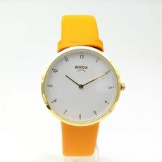 Boccia Damenuhr Titan , oranges Lederband,weißes Zifferblatt,Ø36mm
