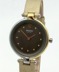 Boccia Damenuhr Titan , goldenes Lederband,,Ø30mm