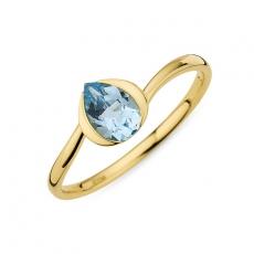 Ring Fassung Tropfenform blauer Topas 333/ Gelbgold