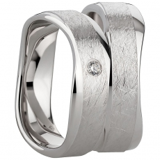 Ring poliert/eismatt leicht geschwungen Zirkonia 925/-rhodiniert