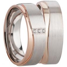 Ring Silber 925/-, matt/poliert  silber/rosé
