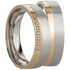 Ring Silber 925/-rhodiniert matt seitlich polierter vergoldeter Streifen