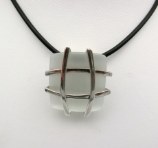 Anhänger eckig Cat Eye, Silber 925/- rhodiniert