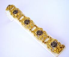 Armband Rosenmotiv 925/- Silber vergoldet 18cm