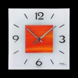 Wanduhr eckig Glas, Mitte orange, Maße 250x250mm