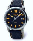 Boccia Herrenuhr Titan , schwarzes Lederband mit Naht orange , 10bar,  Ø41mm