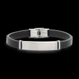 Armband schwarzes Leder mit Edelstahlteil   21cm