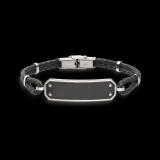 Armband 2-reihig schwarz geflochten Leder Edelstahlplatte   21cm