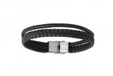 Armband Leder schwarz 2-reihig 21cm
