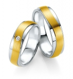 Trauring Silber mit 585/- Gelbgold Einlage in Wellenform ,Brillant 0,03w/si , 6mm breit