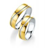 Trauring Silber mit 585/- Gelbgold , 3 Brillanten 0,015ct , 6mm breit