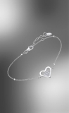 Armband Herz im Herz offen, Zirkonia, Silber 925/-