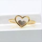 Damenring bicolor Herz im Herz, 585/-Weißgold,Gelbgold