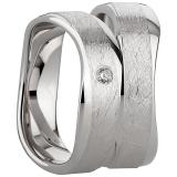 Ring Silber 925/- rhodiniert leicht geschwungen poliert/eismatt