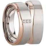 Ring Silber 925/-, matt/poliert 3 Zirkonia silber/rosé