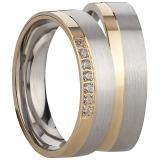 Ring Silber 925/-rhodiniert matt seitlich polierter vergoldeter Streifen 7 Zirkonia