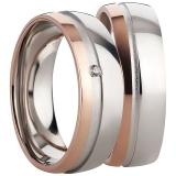 Ring poliert Rille matt 1 Zirkonia seitlich rosé Streifen 925/-rhodiniert