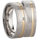 Ring Silber 925/- rhodiniert eismatt Rille gelb vergoldet