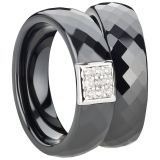 Ring Ceramic Mitte silberne Einlage mit Zirkonia