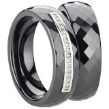 Ring Ceramic  Mitte silberne Einlage mit Zirkonia, 6mm breit