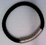 Armband geflochtenes Leder schwarz