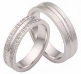 Damenring Silber mit 2 Reihen Zirkonia umlaufend , 5mm breit