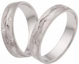 Damenring Silber matt/poliert Mitte Muster Wellenform, 3 Zirkonia, 5mm breit