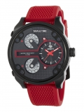 MAREA Herrenuhr Triple Time, rotes Kautschukband, Ø48mm