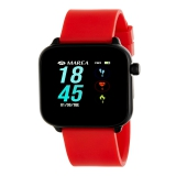 MAREA Smartwatch eckig mit rotem Kautschukband