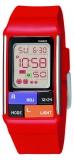 Casio Damenuhr eckig, digital, rotes Kautschukband, 5bar