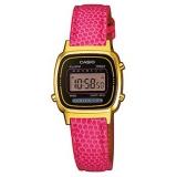Casio Damenuhr eckig digital, pinkfarbenes Lederband