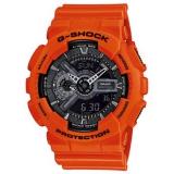 Casio Herrenuhr G-Shock analog/digital, orangefarbenes Gehäuse und Kautschukband, 20bar, Ø50mm
