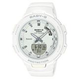 Casio Damenuhr G-Shock, Fitnesstracker und BluetoothFunktion ,weißes Gehäuse und Band aus Kautschuk, 10bar, Ø40mm