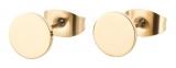 Ohrstecker rund poliert, Ø 6mm Titan vergoldet