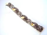 Armband geschwärzt Grantel Blätter 925/-Silber 18cm