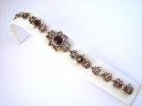 Armband geschwärzt filigran Granat  925/-Silber 19cm