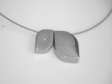 Anhänger matt, poliert 2x Blattform Diamant 0,005ct Titan
