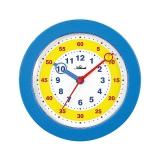 Wanduhr Lernzifferblatt für Kinder , schleichende Sekunde , Kunsstoffgehäuse blau, Ø 225mm