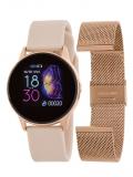 MAREA Smartwatch rosé, Kautschukband nude, Wechselarmband Metall rosé,Ø39mm